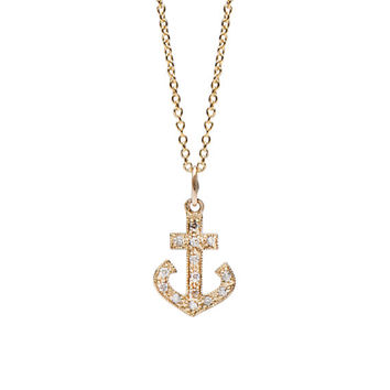 solid 14K Gold & Pavé Diamond Large Anchor Charm Pendant Necklace {available in Yellow, White or Rose Gold}