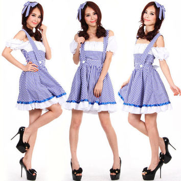 Deluxe Ladies Wizard of OZ Dorothy Halloween Fancy Dress Up Costume Outfit