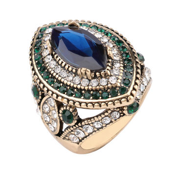 Exotic Turkish Hurrem Style CZ Blue Sapphire Resin Fashion Ring