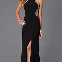Halter Long Prom Dress with Sheer Beaded Back