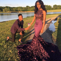 Vintage African Black Girl Prom Dress Long Sexy Burgundy Prom Dresses 2017 Sequined Mermaid Evening Party Gowns vestido de festa