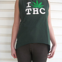 I Love THC Cannabis Medical Marijuana Upcycled Pixie Tank Top