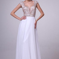 PRIMA 17-8742 Cap Sleeve Jeweled Chiffon Prom Dress Evening Gown