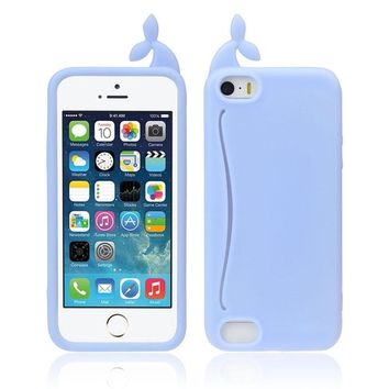 Cute Big Mouth Whale Rubber Card Holder Soft Case Cover For iPhone 5 5S