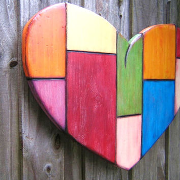 Art Heart, Original LARGE Wood Wall Sculpture, Wood Carving, Wall Decor, Heart Sculpture, Painted Sculpture, by Fig Jam Studio