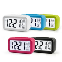 Clock Digital LED Snooze Electronic Alarm Clock Backlight Time Calendar Thermometer