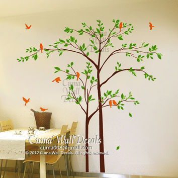 tree and birds wall decals nursery vinyl wall decals forest vinyl mural nature wall decals office- 2 trees birds Z164 cuma wall decals