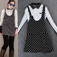 White Collared Long Sleeves Polka Dots Strappy A-Line Mini Dress
