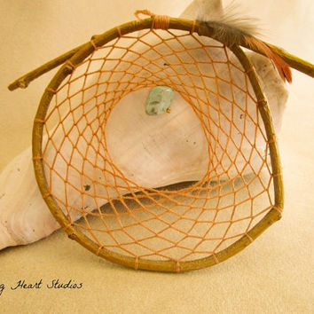 Prairie Sand Willow dream catcher - turquoise gemstone - natural - small