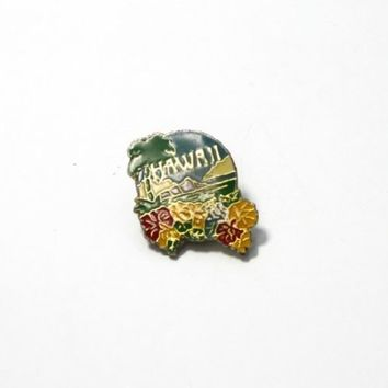 HAWAII COLORFUL FLOWERS & ISLAND PIN WITH BACKING