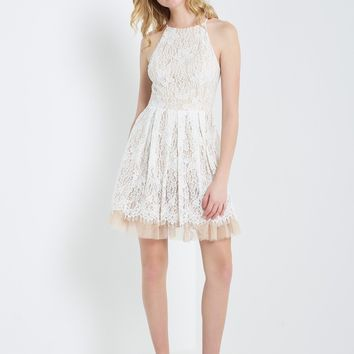 Lace Halter A-Line Dress
