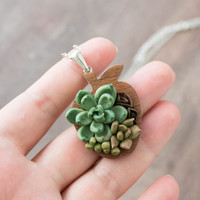 Green Olive Succulent Wooden Apple Wood Polymer Caly Pendant Wholesale Plants Arrangement Succulent Jewelry Birthday Wedding Bridal Gifts