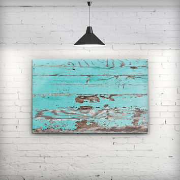 Turquoise Chipped Paint on Wood - Fine-Art Wall Canvas Prints