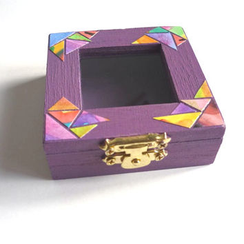 Small Wooden Jewelry Box Square. Glass Window. Hand Painted in Purple with Golden Shine and Mosaic Decoration. Gift packaging, Organizer