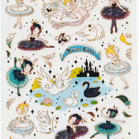 Funny Scrapbook Gold Foil Stickers - Swan Lake 1 Sheets SS254