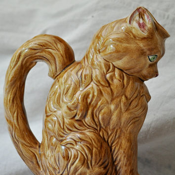Vintage Pitcher / VaseDelightful Tawny Cat by TheVelvetBranch