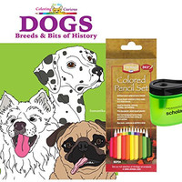 Alvin Heritage Colored Pencil, Set of 24, Coloring for the Curious Dogs: Breeds & Bits of History Coloring Book by Samantha Cole and Prismacolor Scholar Colored Pencil Sharpener (Gift Bundle of 3)