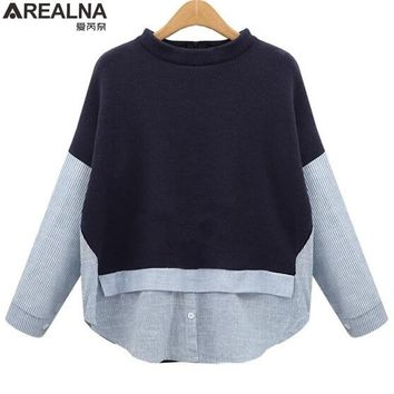 AREALNA Autumn sweatshirt women Style Striped Patchwork Navy Pullover Loose Casual hoodies for women Plus Size XL-5XL