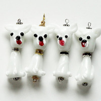 Dog  Lampwork Glass Charms Beads Pendant /Choose 1  Collar Color/Red, Gold, Silver Or Black