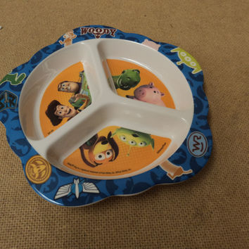 Playtex Baby Toddler Plate 8in x 1in Multi-Color Toy Story Plastic -- Used