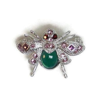 Vintage Bumble Bee Brooch Pin Signed SNK Rhinestones Silver Purple Green Red Eyes