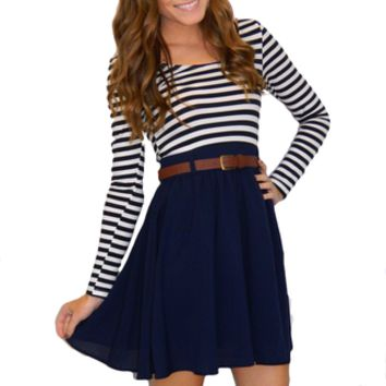 Southern Stripes Dress (Navy) | Girly Girl Boutique