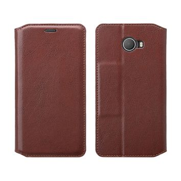 Jitterbug Smart 2 Smart2 Case, Magnetic Flip Fold Kickstand Leather Wallet Cover with ID & Credit Card Slots - Brown