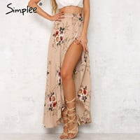 Simplee Vintage floral print long skirts women Summer elegant beach maxi skirt Boho high waist asymmetrical skirt