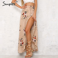 Vintage floral print long skirts women Summer elegant beach maxi skirt Boho high waist asymmetrical skirt