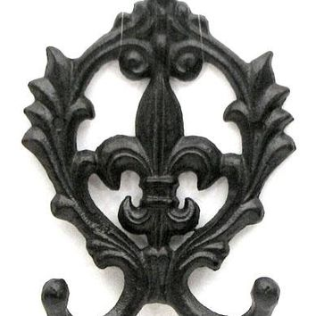 Cast Iron Scroll Fleur De Lis Double Hook