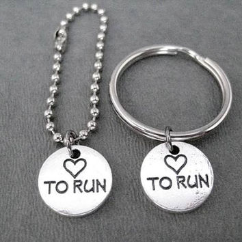 HEART TO RUN Round Pewter Pebble Charm Key Chain / Bag Tag - 4 inch Ball Chain or Round Key Ring - Love to Run Key Chain - Love Run Bag Tag