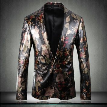 Leather suit Jacket Men Fashion Digital Printing Single Button Wears Flower Printing Casual Slim Fit Male Blazer For Party