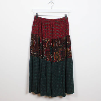 Vintage 90s Skirt Mixed Print Boho Paisley Polka Dot Tiered Gypsy Boho Draped Midi Maxi Skirt 1990s Skirt Soft Grunge M Medium L Large XL