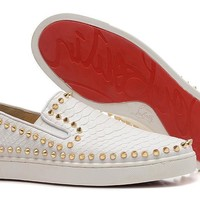 DCCK2 Christian Louboutin White snake skin with gold studs