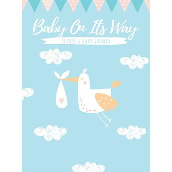 Custom Baby On its Way Baby Shower Backdrop (Any Color) Background - C0265