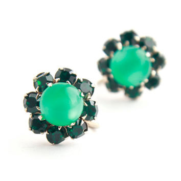 Vintage Emerald Green Moon Glow Clip On Earrings -  Silver Tone Prong Set Glass Costume Jewelry Accessories / Screw Back Earrings