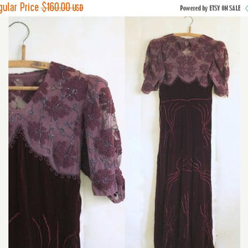 Vintage 1940s Dress 40s Maxi Dress Womens 1930s Dress Long Length Holiday Dress Eggplant Aubergine Purple Evening Dress Womens Formal Small
