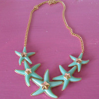 Lost At Sea Aqua Starfish Cluster Necklace Set