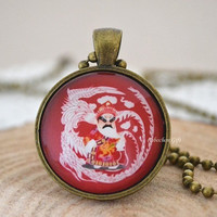 Beijing Opera necklace, Costumes of Chinese Opera necklace, Lagsse Guan Yu Cabochon pendant necklace (N21)