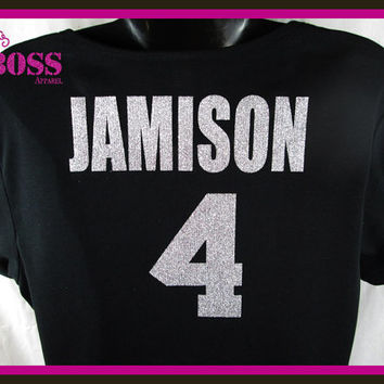 Jersey Last Name Number Tee Shirt Sports Baseball Mom Ladies Bling Custom Sparkle Glitter Colors Personalized Baseball Football Basketball