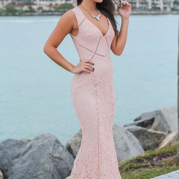 Blush Lace V-Neck Maxi Dress with Open Back