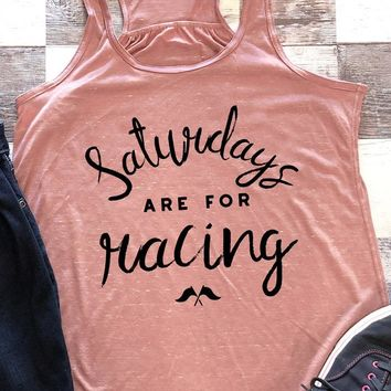 Saturdays Are For Racing Cross Flags Women's Tank Tops