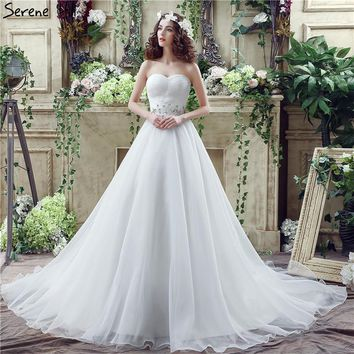 White Sexy Strapless Tulle Wedding Dresses 2018 Crystal Beading Sleeveless Fashion Bridal Gowns Robe De Mariage Real Photo
