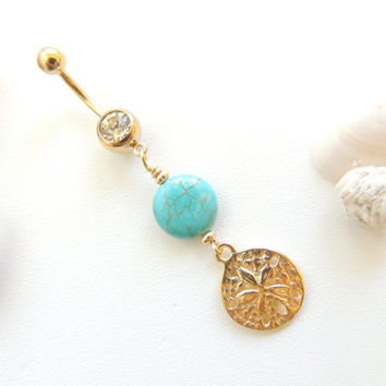 Sand Dollar Navel Ring with Turquoise, Nautical / Beach Belly Button Ring, Stone Belly Ring, Navel Piercing, Belly Button Ring. 17