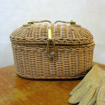 60s Pinup Basket Purse, Vintage Crown Lewis Plastic Coated Light Brown Wicker Basket Purse with Goldtone Handle