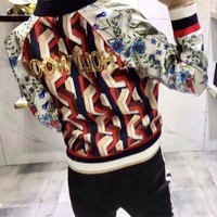 ONETOW Gucci' Women Fashion Casual Sequin Letter Tiger Head Floral Geometric Print Long Sleeve Zip Cardigan Jacket Coat