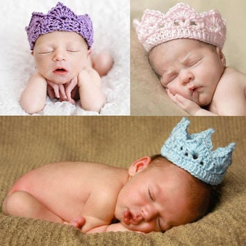 Newborn Baby Crochet Knit Prince Crown Headband Hats Hair Accessories