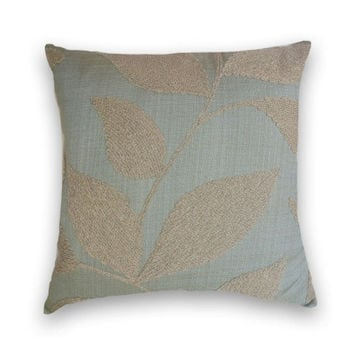 Pale Blue and Cream Chenille Decorative Pillow Cover--18x18 or 20x20  or 22x22 Floral Contemporary Throw Pillow--Cream, Blue