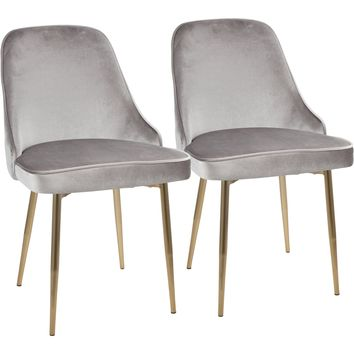 Marcel Contemporary Dining Chairs with Silver Velvet, Gold (Set of 2)