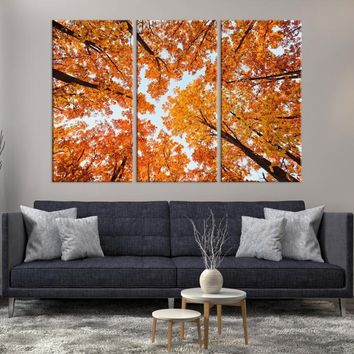 60194 - Large Wall Art Landscape Canvas Print - Orange Leaves on Trees Taken from Ground Through the Sky